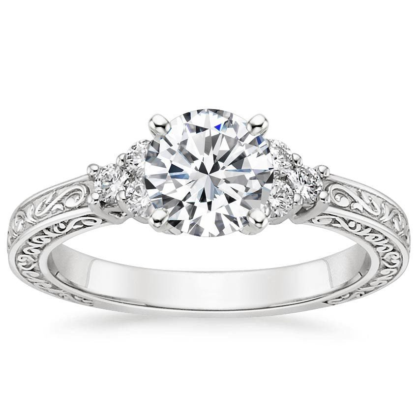 Platinum Adorned Trio Diamond Ring, top view