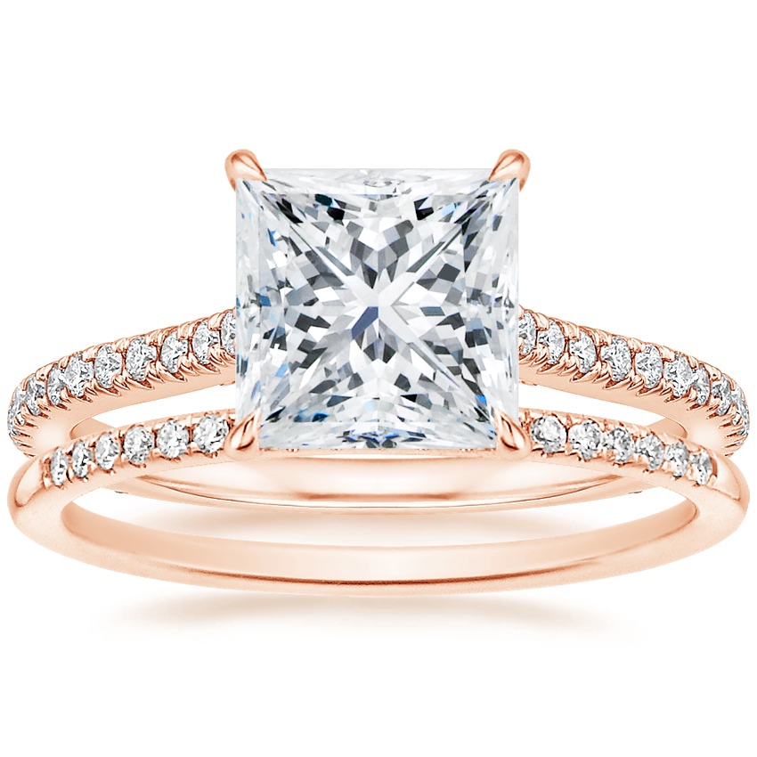 14K Rose Gold Amelia Diamond Ring (1/3 ct. tw.) with Whisper Diamond Ring (1/10 ct. tw.)