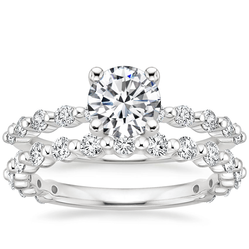 18K White Gold Marseille Diamond Ring (1/4 ct. tw.) with Luxe Marseille Diamond Ring (1/2 ct. tw.)
