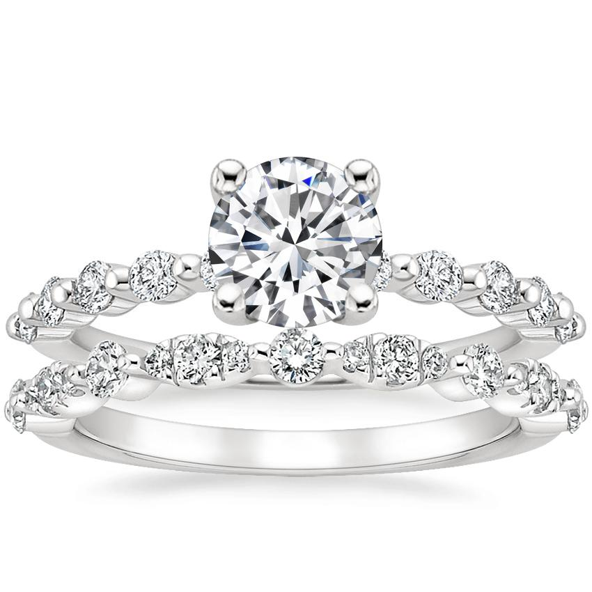 18K White Gold Marseille Diamond Ring (1/4 ct. tw.) with Odette Diamond Ring (1/4 ct. tw.)