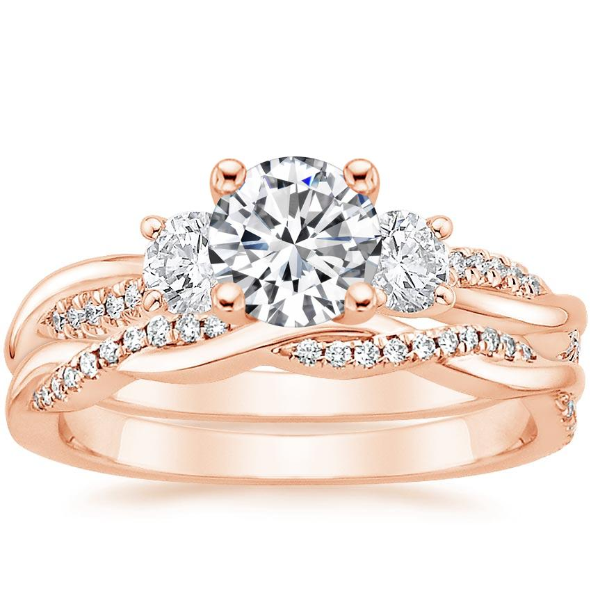 14K Rose Gold Three Stone Petite Twisted Vine Diamond Bridal Set (1/2 ct. tw.)