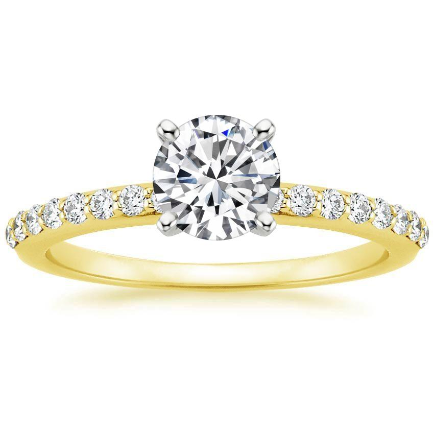 18K Yellow Gold Petite Shared Prong Diamond Ring (1/4 ct. tw.), top view