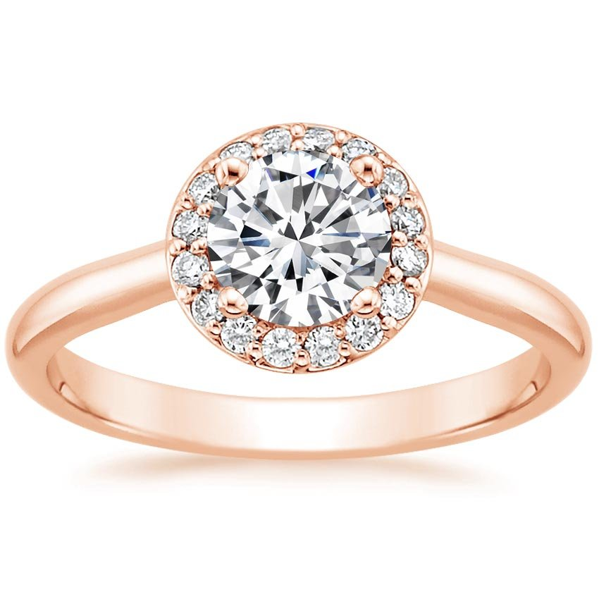 14K Rose Gold Halo Diamond Ring, top view