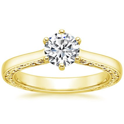18K Yellow Gold Secret Garden Ring, top view