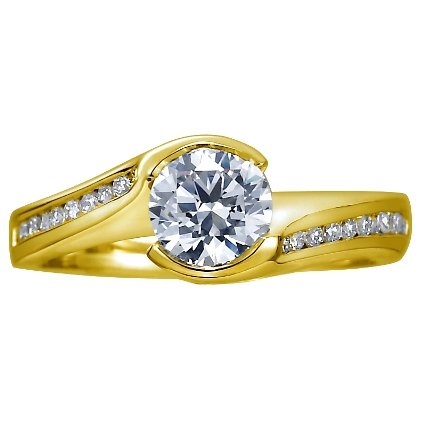 18K Yellow Gold Cascade Ring with Channel Set Diamond Accents (1/4 ct. tw.), top view