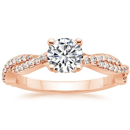 14K Rose Gold Twisted Vine Diamond Ring (1/4 ct. tw.), top view