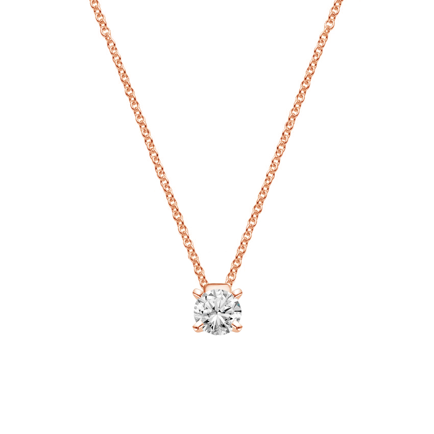 14K Rose Gold Floating Solitaire Pendant, top view