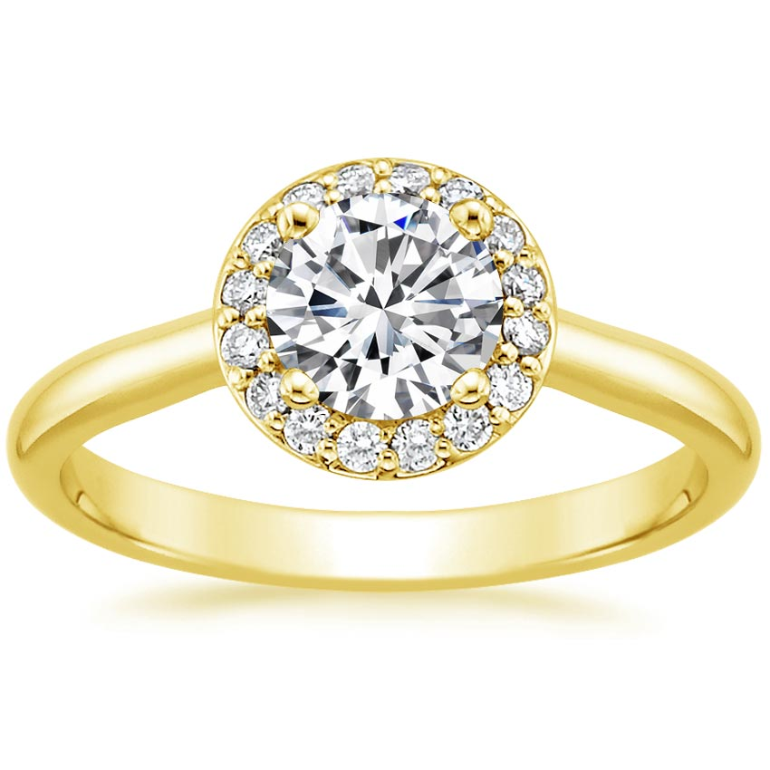 18K Yellow Gold Halo Diamond Ring, top view