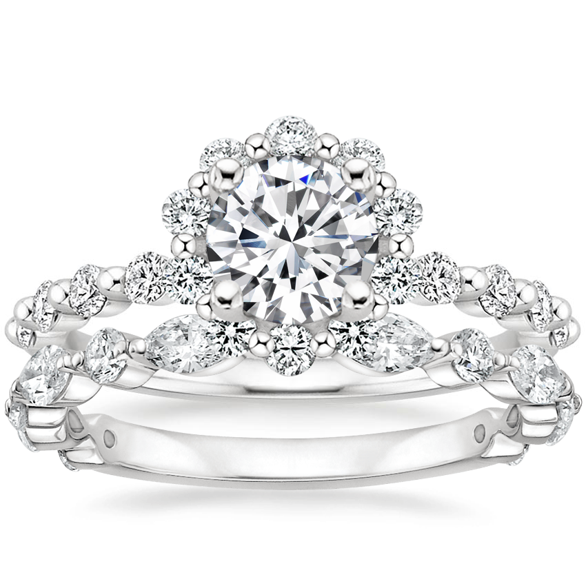 Platinum Marseille Halo Diamond Ring (1/2 ct. tw.) with Luxe Versailles Diamond Ring (5/8 ct. tw.)