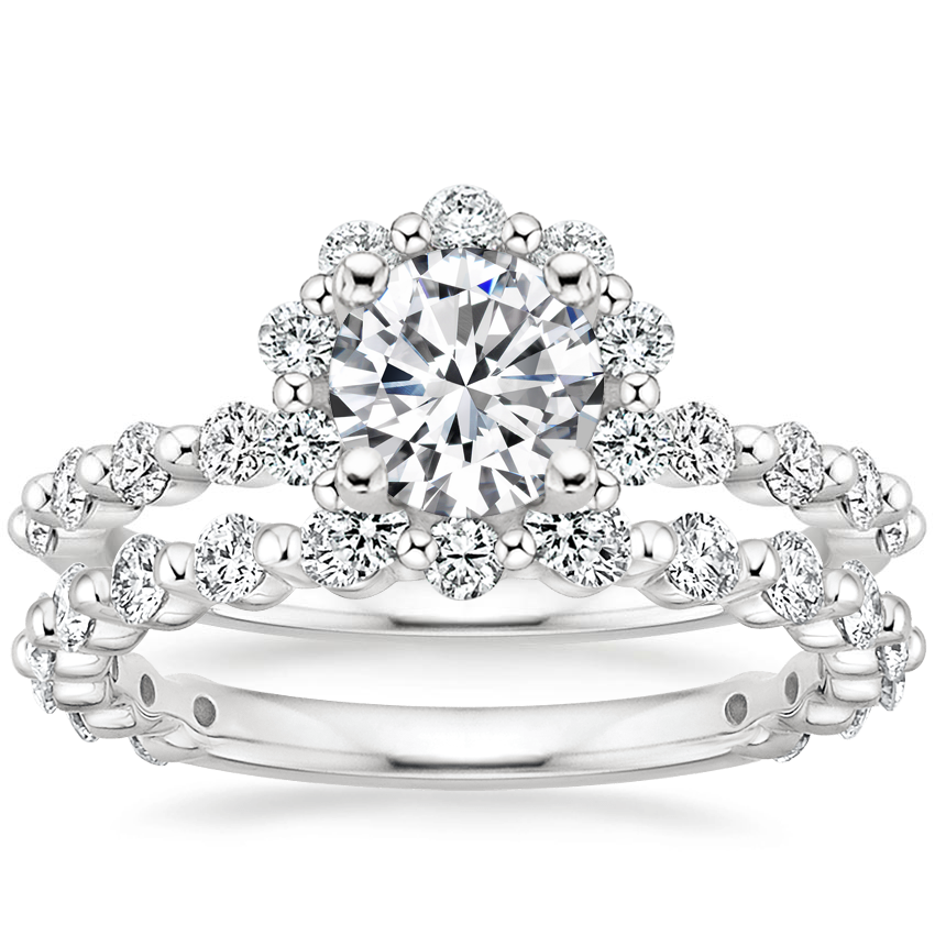 Platinum Marseille Halo Diamond Ring (1/2 ct. tw.) with Luxe Marseille Diamond Ring (1/2 ct. tw.)