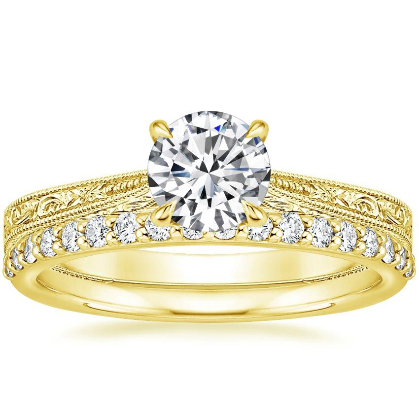 18K Yellow Gold Elsie Ring with Petite Shared Prong Diamond Ring (1/4 ct. tw.)