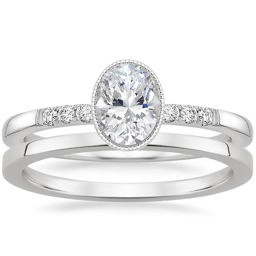 18K White Gold Imogen Diamond Ring with Petite Quattro Wedding Ring