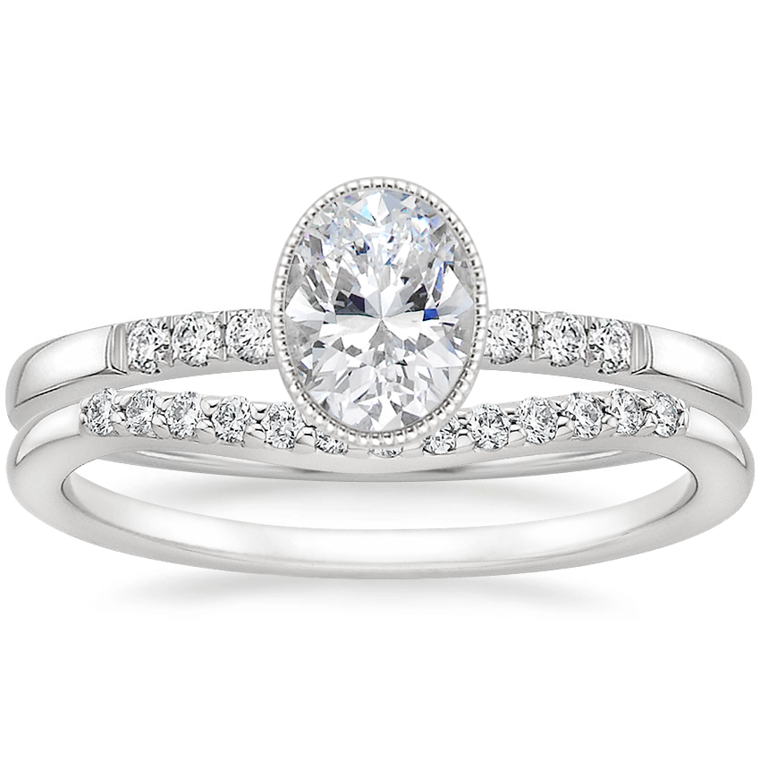 18K White Gold Imogen Diamond Ring with Petite Curved Diamond Ring (1/10 ct. tw.)