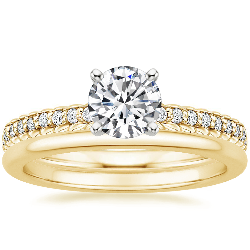 18K Yellow Gold Corda Diamond Ring with Petite Comfort Fit Wedding Ring
