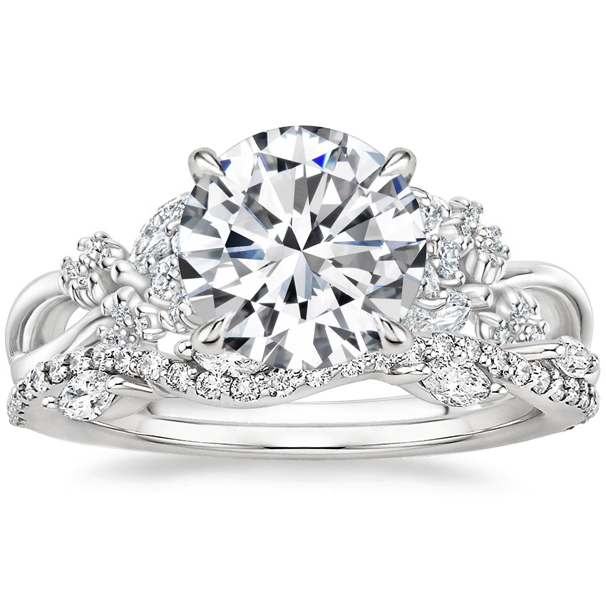 Platinum Summer Blossom Diamond Ring (1/4 ct. tw.) with Luxe Winding Willow Diamond Ring (1/4 ct. tw.)