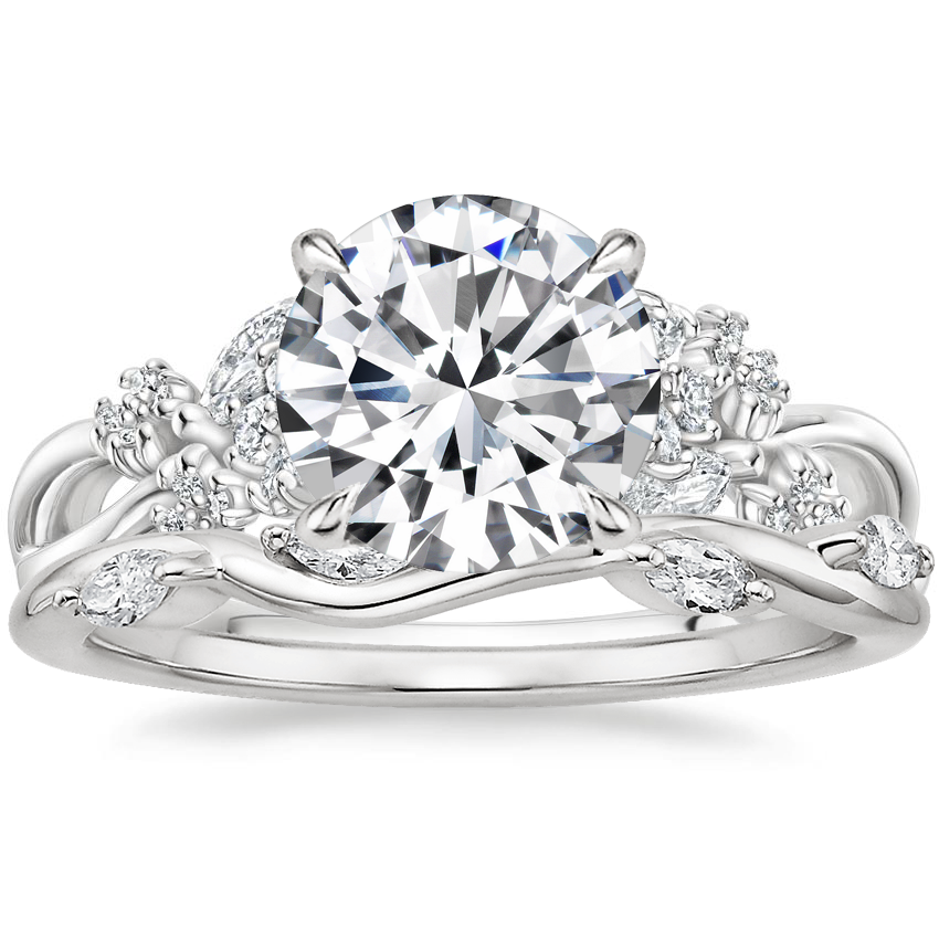 Platinum Summer Blossom Diamond Ring (1/4 ct. tw.) with Winding Willow Diamond Ring