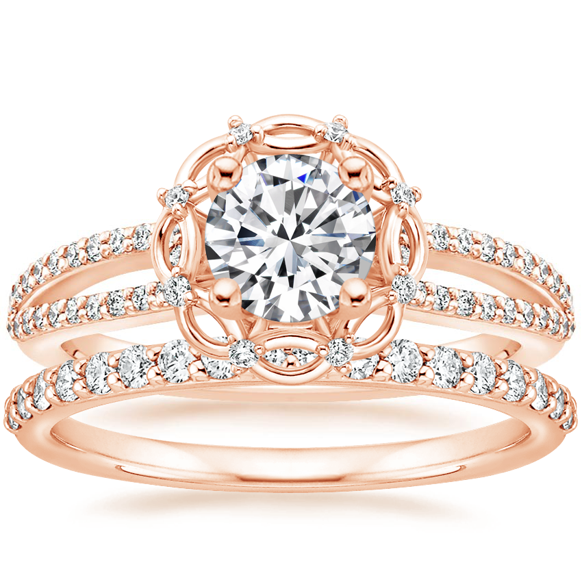 14K Rose Gold Isabella Diamond Ring with Petite Shared Prong Diamond Ring (1/4 ct. tw.)