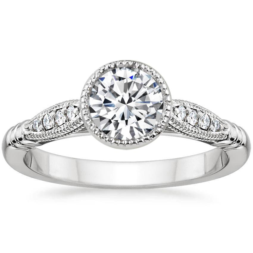 Round 18K White Gold Lyra Diamond Ring