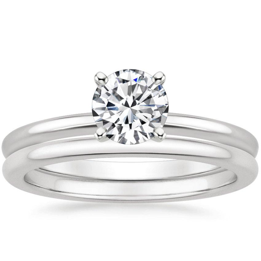 18K White Gold Four-Prong Petite Comfort Fit Bridal Set