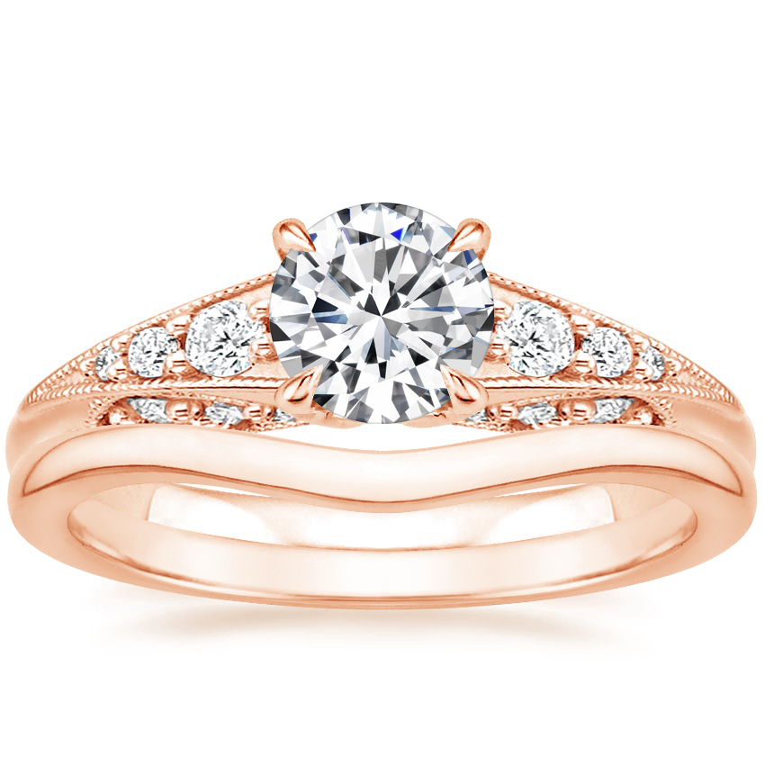 14K Rose Gold Serafina Diamond Ring (1/4 ct. tw.) with Petite Curved Wedding Ring