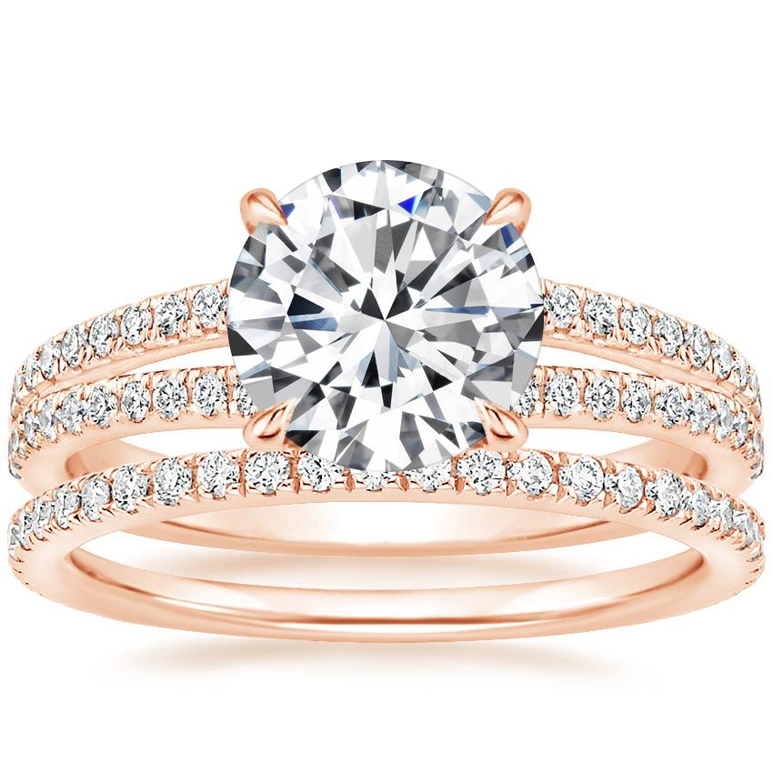 14K Rose Gold Mirra Diamond Ring (1/4 ct. tw.) with Luxe Ballad Diamond Ring (1/4 ct. tw.)