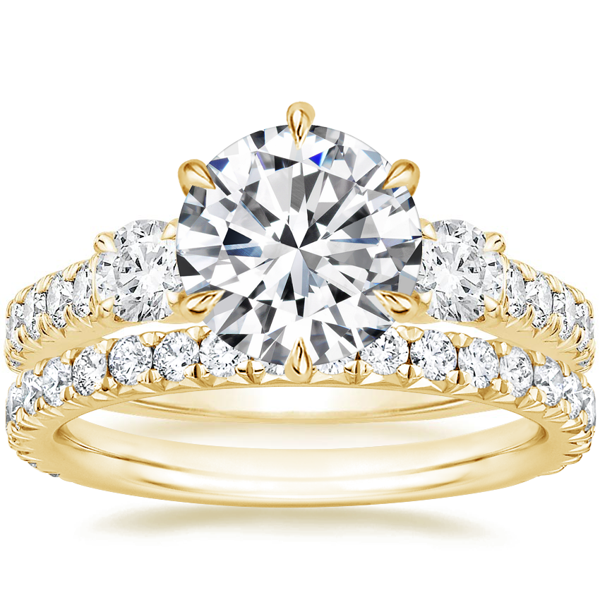 18K Yellow Gold Gramercy Diamond Ring (3/4 ct. tw.) with Luxe Amelie Diamond Ring (2/5 ct. tw.)