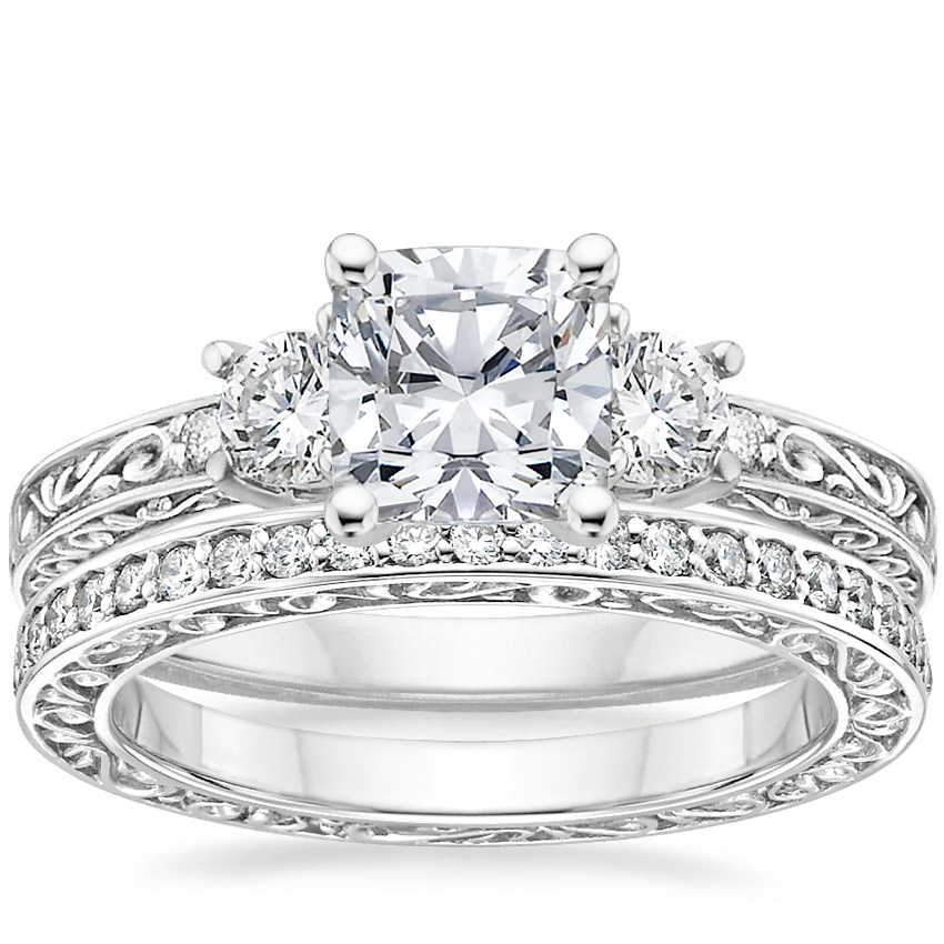 18K White Gold Antique Scroll Three Stone Trellis Diamond Ring (1/3 ct. tw.) with Delicate Antique Scroll Eternity Diamond Ring (2/5 ct. tw.)