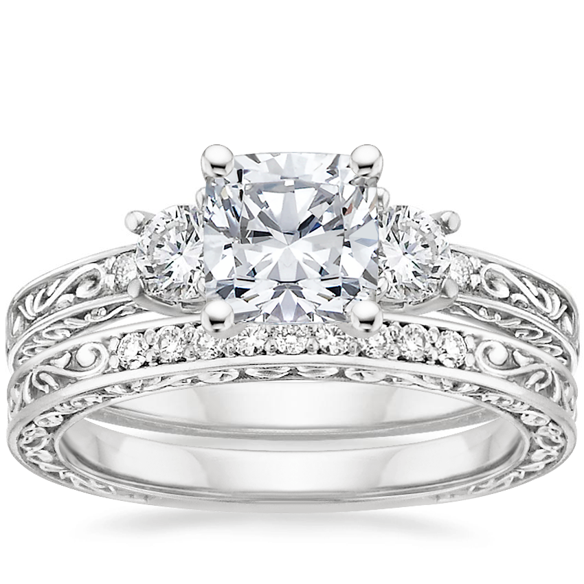 Platinum Antique Scroll Three Stone Trellis Diamond Ring (1/3 ct. tw.) with Delicate Antique Scroll Diamond Ring (1/15 ct. tw.)