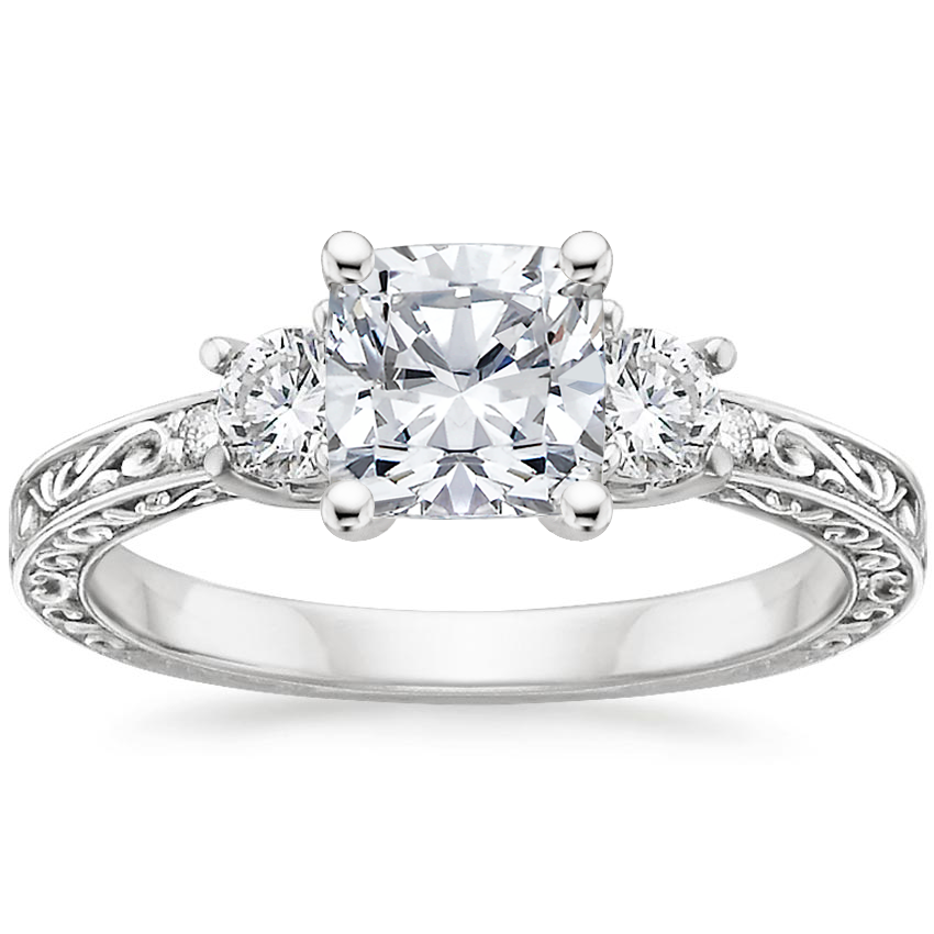 Cushion Platinum Antique Scroll Three Stone Trellis Diamond Ring (1/3 ct. tw.)