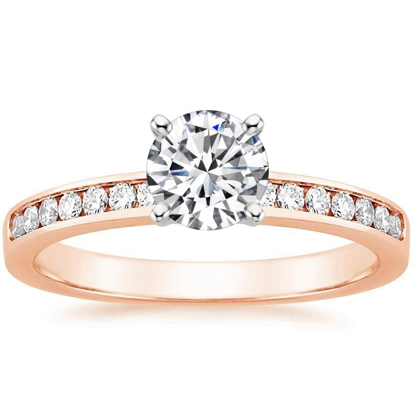 Round 14K Rose Gold Petite Channel Set Round Diamond Ring