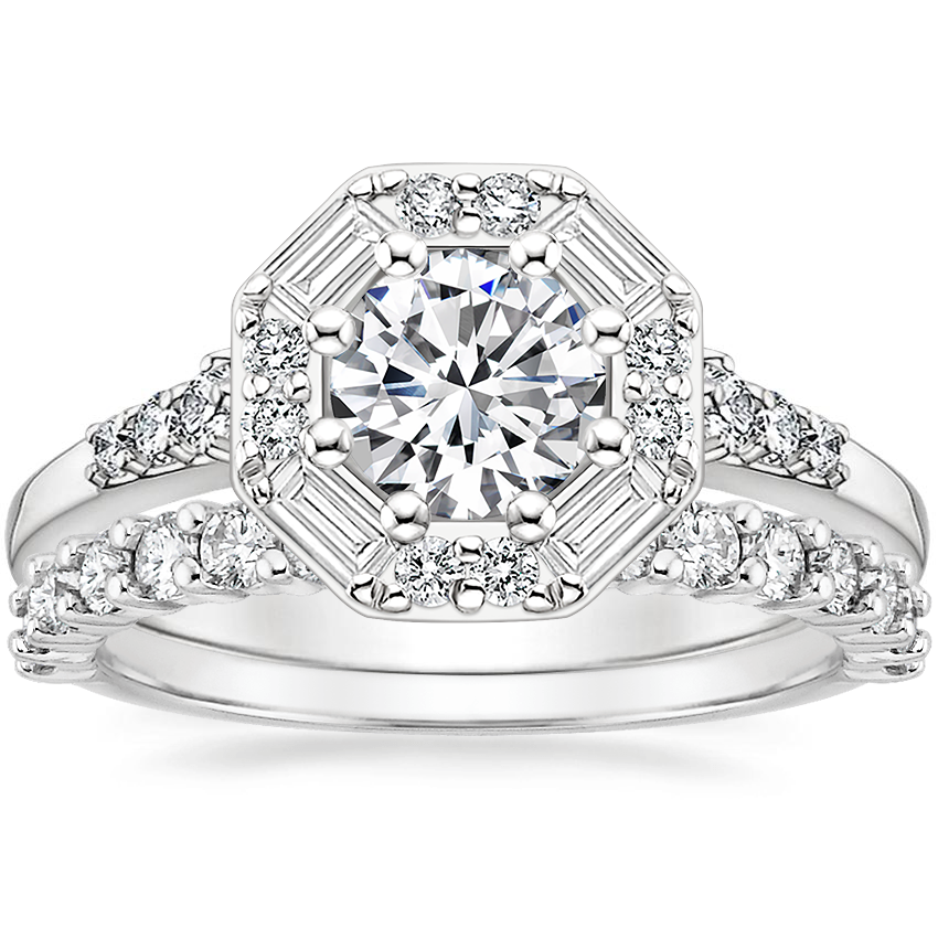 18K White Gold Octavia Diamond Ring with Shared Prong Diamond Ring (2/5 ct. tw.)