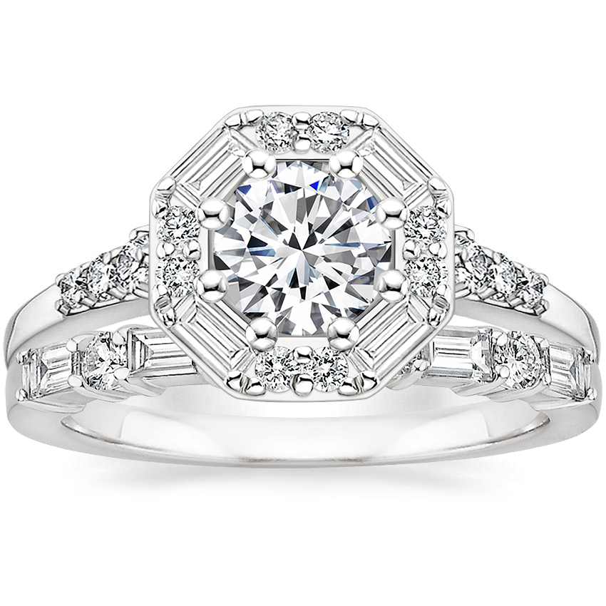 18K White Gold Octavia Diamond Ring with Leona Diamond Ring (1/3 ct. tw.)