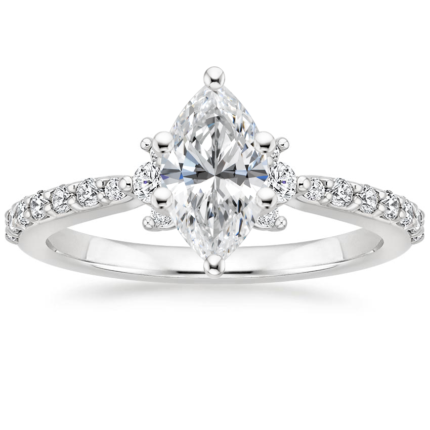 Marquise Three Diamond Cluster Engagement Ring