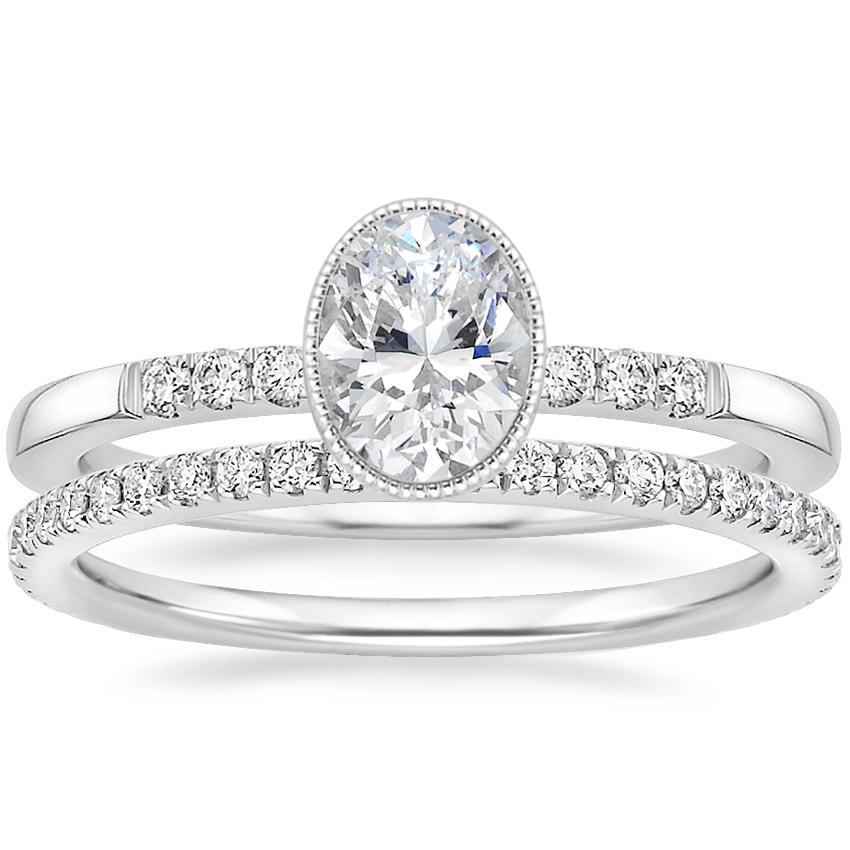 18K White Gold Imogen Diamond Ring with Luxe Ballad Diamond Ring (1/4 ct. tw.)