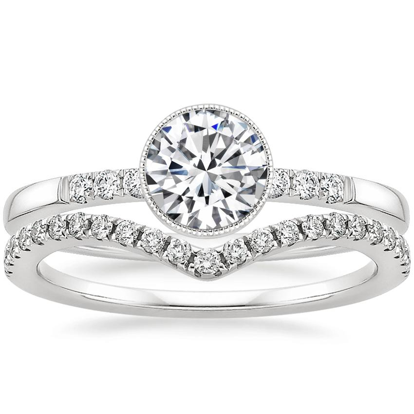 18K White Gold Imogen Diamond Ring with Flair Diamond Ring (1/6 ct. tw.)