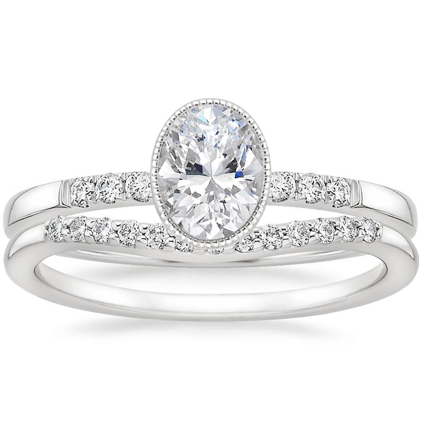 Platinum Imogen Diamond Ring with Petite Curved Diamond Ring