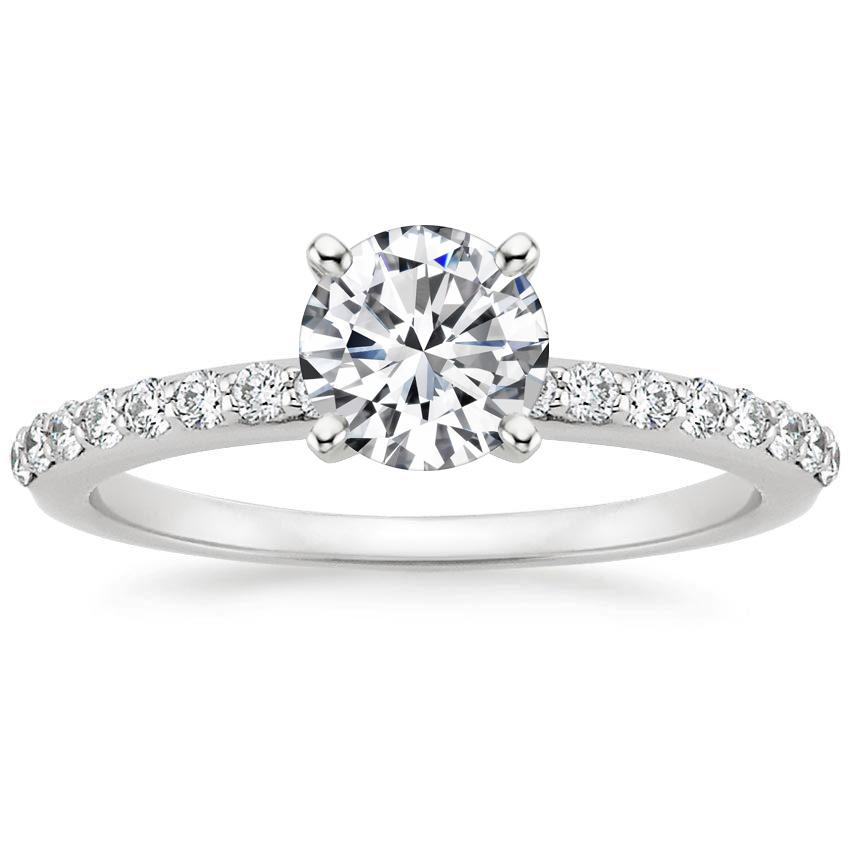 18K White Gold Petite Shared Prong Diamond Ring (1/4 ct. tw.), top view