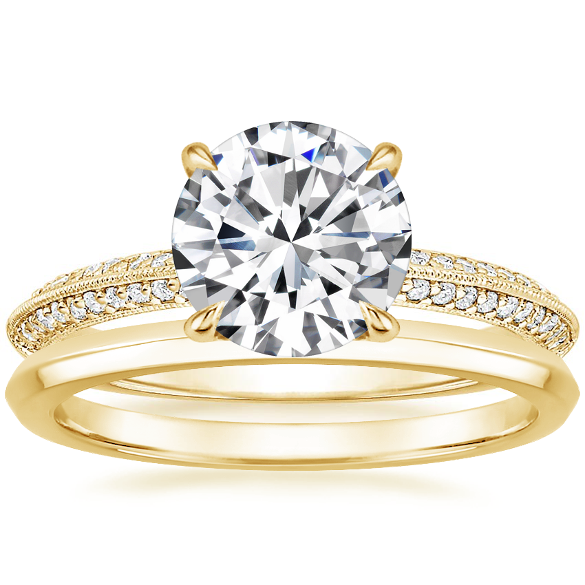 18K Yellow Gold Callista Diamond Ring with Hazel Ring