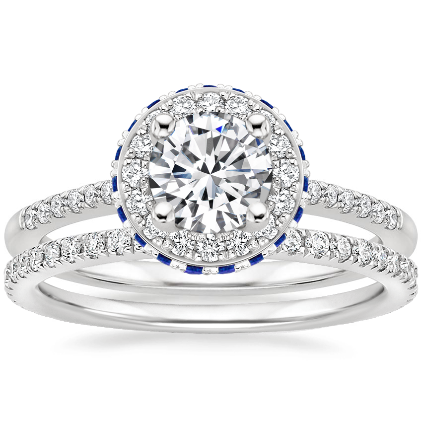18K White Gold Circa Diamond Ring with Sapphire Accents (1/4 ct. tw.) with Luxe Ballad Diamond Ring (1/4 ct. tw.)