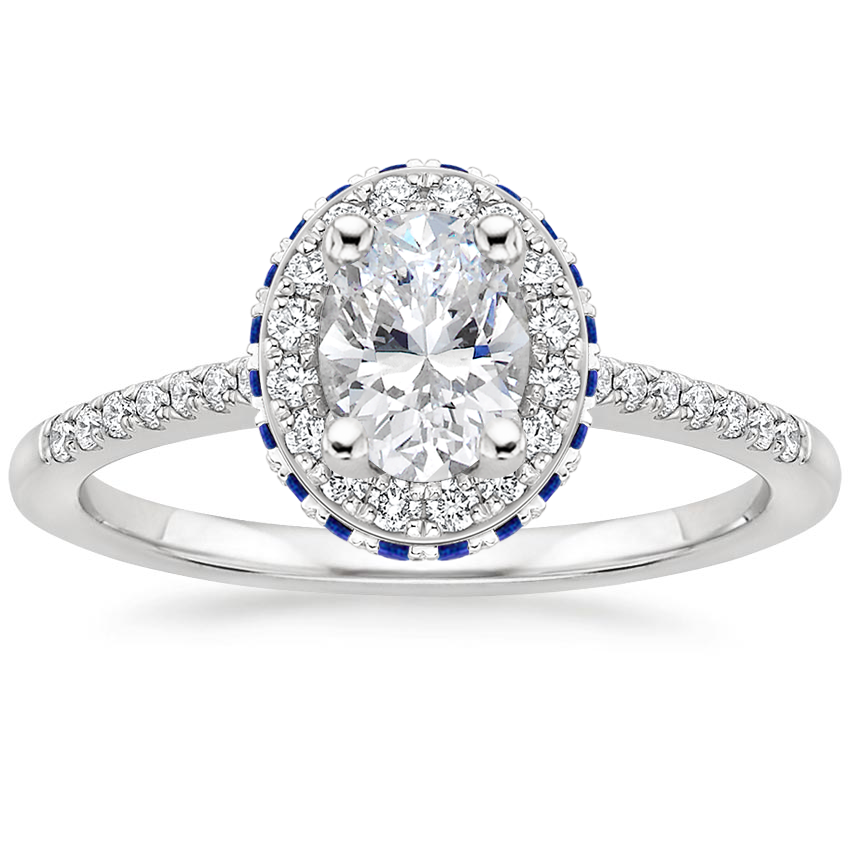 Oval Double Halo Sapphire Engagement Ring