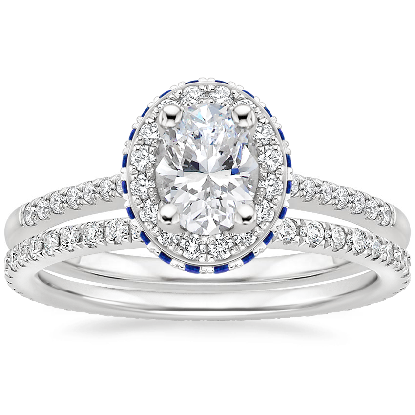 18K White Gold Circa Diamond Ring with Sapphire Accents (1/4 ct. tw.) with Ballad Eternity Diamond Ring (1/3 ct. tw.)