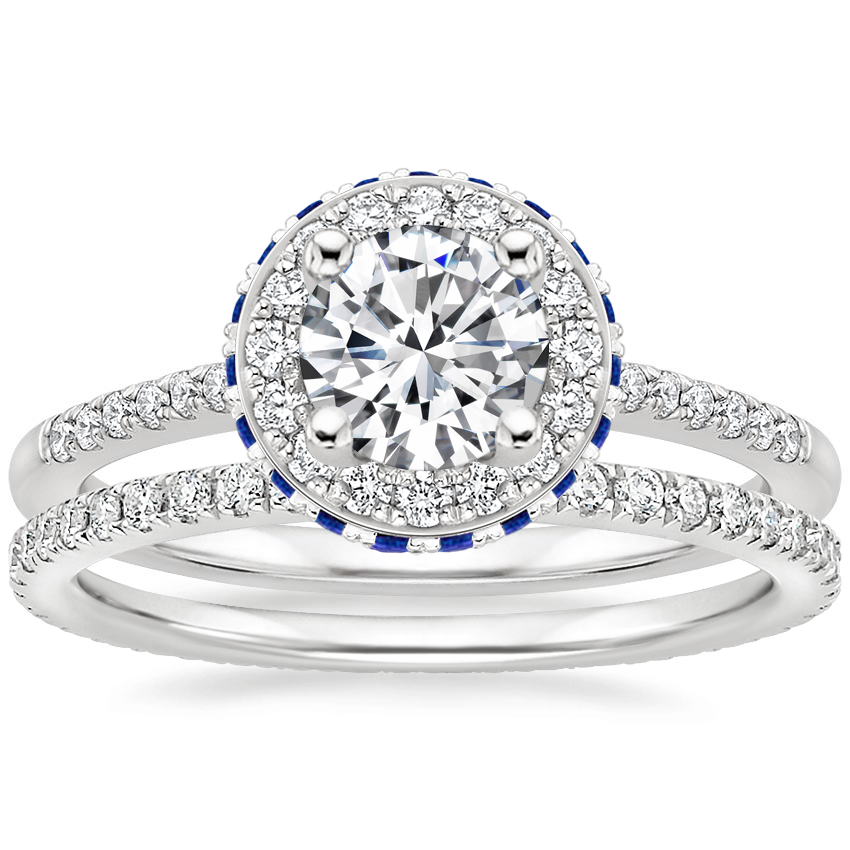 Platinum Circa Diamond Ring with Sapphire Accents (1/4 ct. tw.) with Ballad Eternity Diamond Ring (1/3 ct. tw.)