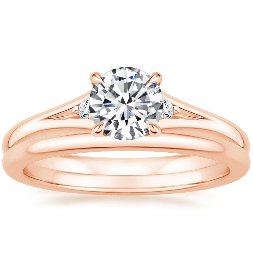 14K Rose Gold Lena Diamond Ring with Petite Comfort Fit Wedding Ring