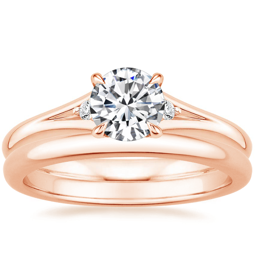 14K Rose Gold Lena Diamond Ring with 2mm Comfort Fit Wedding Ring