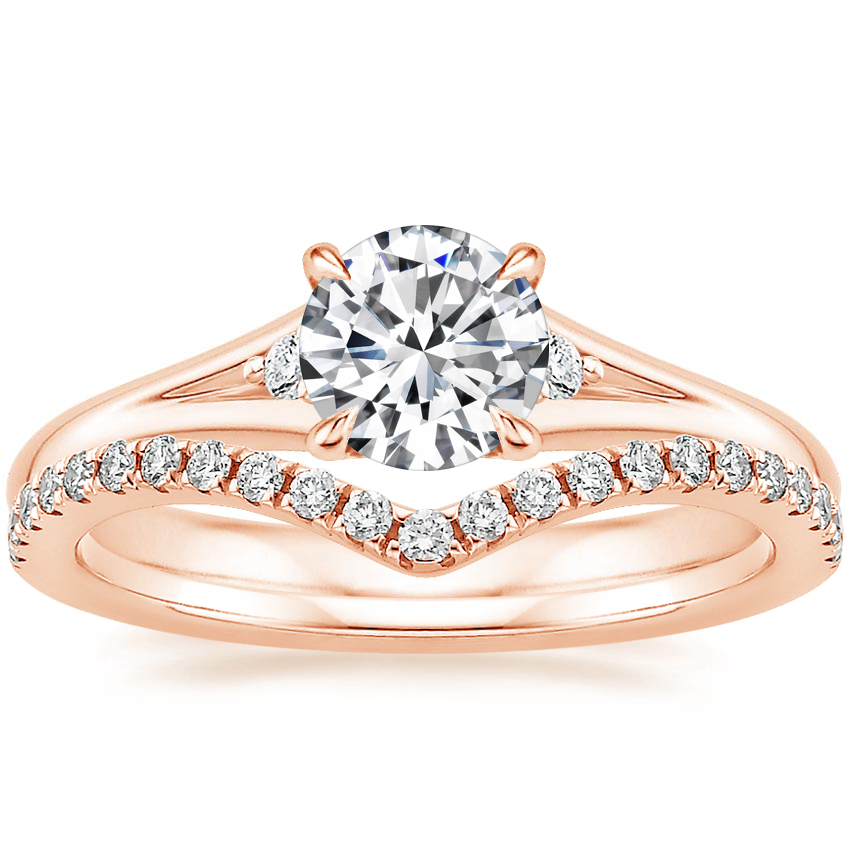 14K Rose Gold Lena Diamond Ring with Flair Diamond Ring
