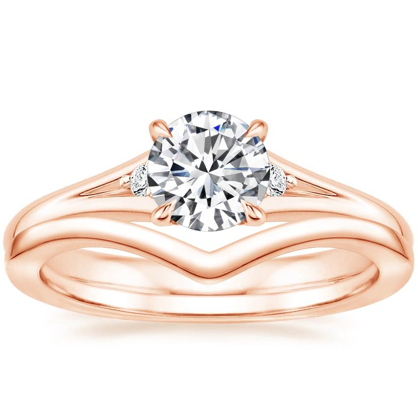14K Rose Gold Lena Diamond Ring with Chevron Ring