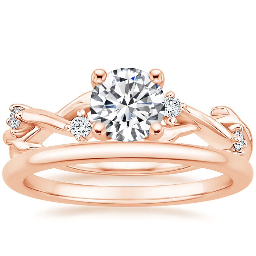 14K Rose Gold Liana Diamond Ring with Petite Comfort Fit Wedding Ring