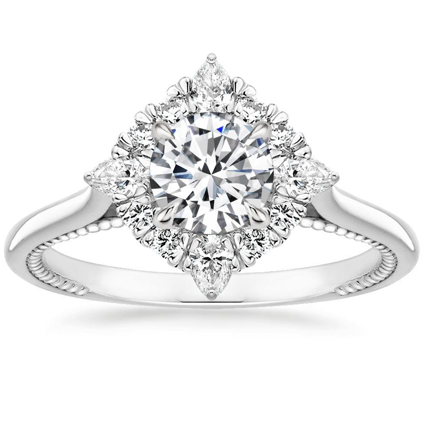 Round 18K White Gold Dahlia Diamond Ring (1/3 ct. tw.)
