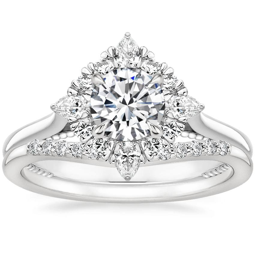 18K White Gold Dahlia Halo Diamond Ring (1/3 ct. tw.) with Petite Curved Diamond Ring (1/10 ct. tw.)