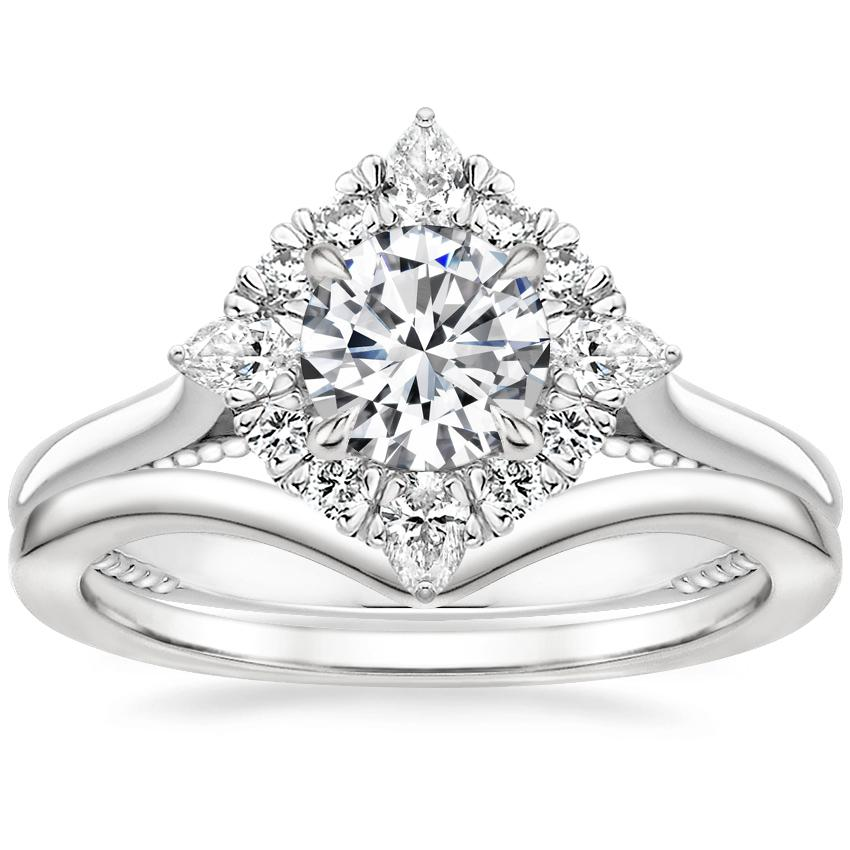 18K White Gold Dahlia Halo Diamond Ring (1/3 ct. tw.) with Chevron Ring
